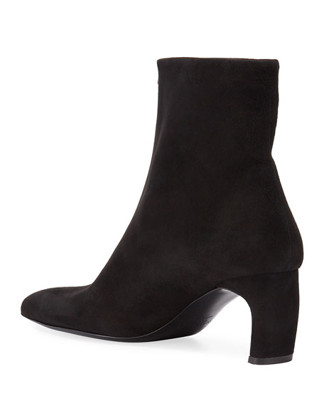 Rosetta Getty Pointed-Toe Suede Zip Booties