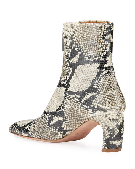 Rosetta Getty Snake-Print Leather Zip Booties