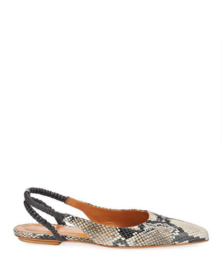 Rosetta Getty Snake-Print Leather Slingback Flats