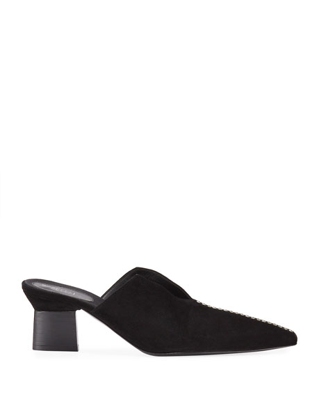 Image 2 of 4: Rosetta Getty Studded Suede Split-Heel Mules