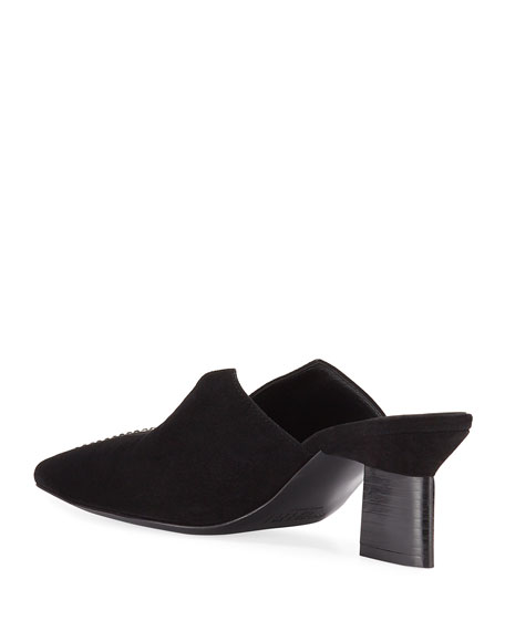 Image 4 of 4: Rosetta Getty Studded Suede Split-Heel Mules