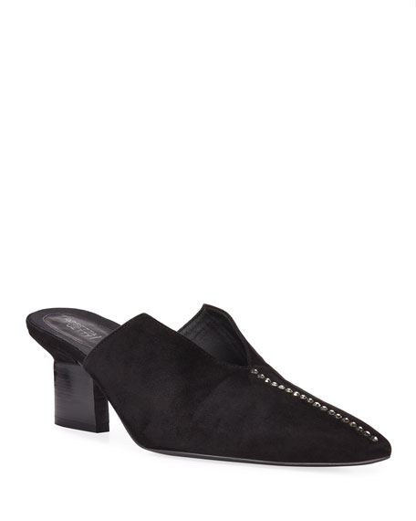 Image 1 of 4: Rosetta Getty Studded Suede Split-Heel Mules
