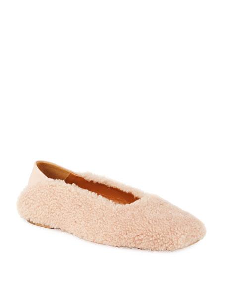 Rosetta Getty Shearling Ballerina Flat Loafers