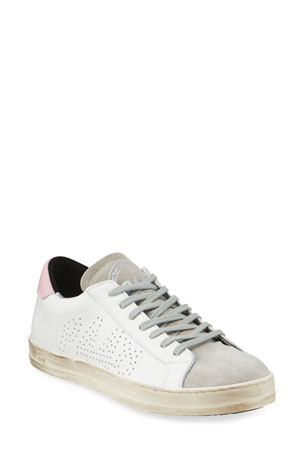 P448 John Leather & Suede Logo Low-Top Sneakers