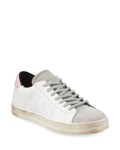 John Leather & Suede Logo Low-Top Sneakers