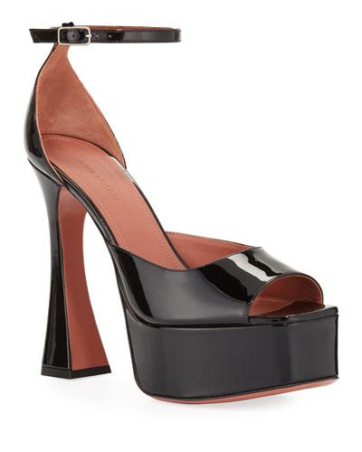 Bianca Platform Patent Ankle-Wrap Sandals