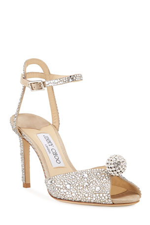 Jimmy Choo Sacora Embellished Satin Cocktail Sandals