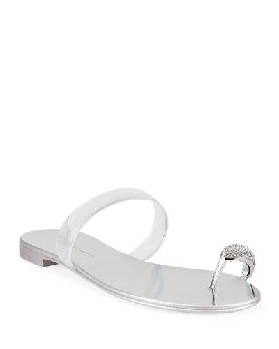 Flat Jeweled Toe Ring Sandals