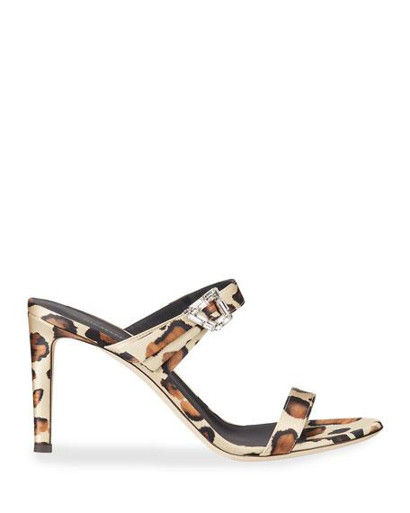 Giuseppe Zanotti 85mm 2-Band Leopard Fabric Sandals