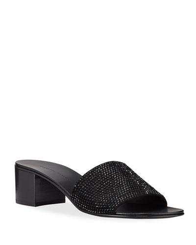 Crystal Suede Slide Sandals