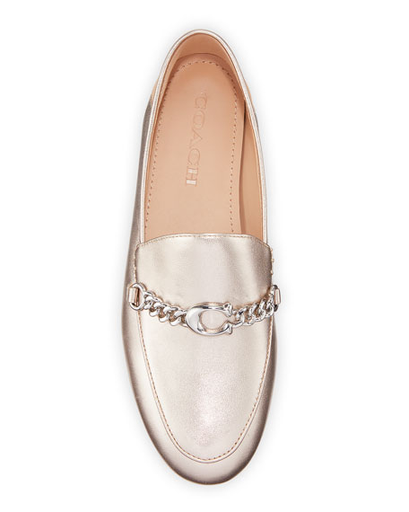 Coach Helena Chain Metallic Leather Loafers