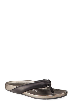Pedro Garcia Anita Metallic Leather Thong Sandals