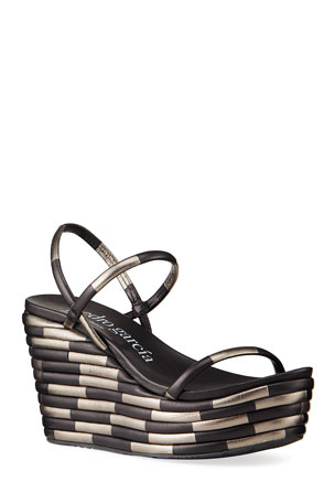Pedro Garcia Debs Two-Tone Strap Wedge Sandals