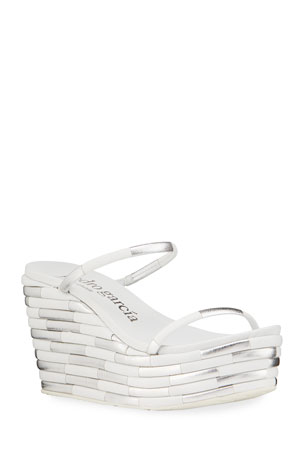 Pedro Garcia Denita Two-Tone Strap Wedge Sandals