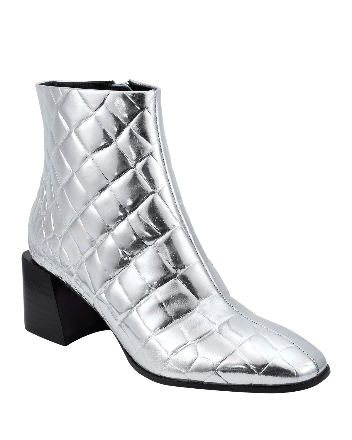 Mandel 2 Metallic Quilted Leather Booties by Sigerson Morrison
