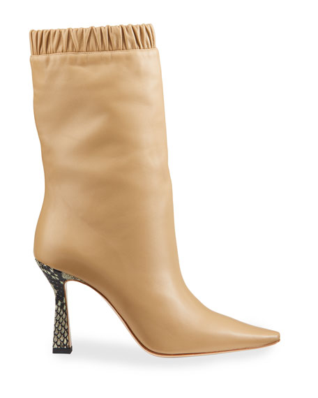 Image 2 of 4: Lina Slouch Leather Mid-Calf Boots
