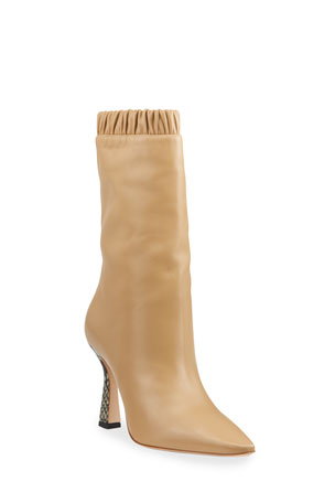 Wandler Lina Slouch Leather Mid-Calf Boots