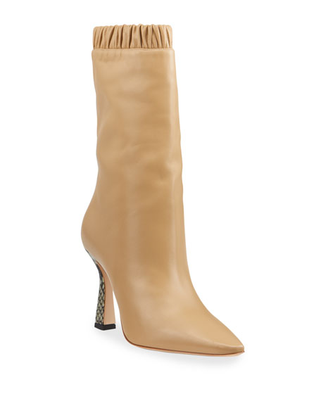 Image 1 of 4: Lina Slouch Leather Mid-Calf Boots