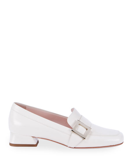 Image 2 of 4: Roger Vivier Leather Buckle Slip-On Loafers