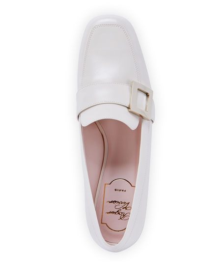 Image 4 of 4: Roger Vivier Leather Buckle Slip-On Loafers