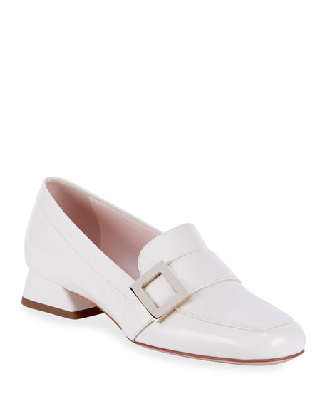 Image 1 of 4: Roger Vivier Leather Buckle Slip-On Loafers