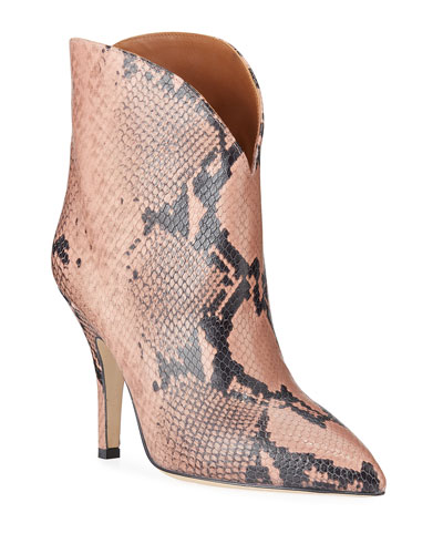 Python-Print Heeled Ankle Boots