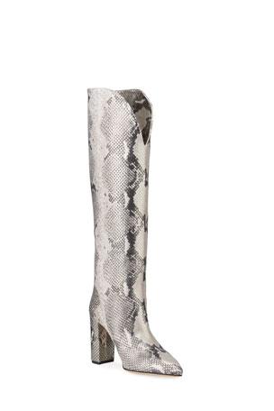 Paris Texas Metallic Python-Print Heeled Knee Boots