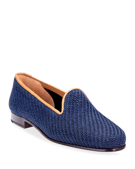 Stubbs and Wootton Sisal & Leather Smoking Slipper Loafers