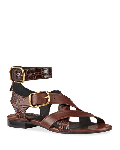 Daisy Mixed Leather Strappy Sandals