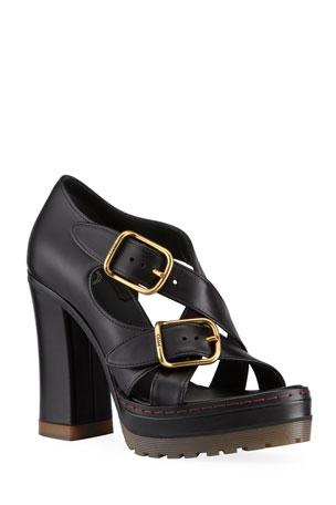 Chloe Daisy Crisscross Buckle Chunky-Heel Sandals