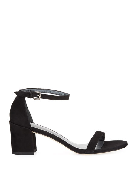 Image 2 of 4: Stuart Weitzman Simple Suede Chunky-Heel City Sandals