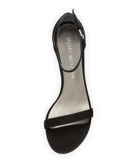 Image 3 of 4: Stuart Weitzman Simple Suede Chunky-Heel City Sandals
