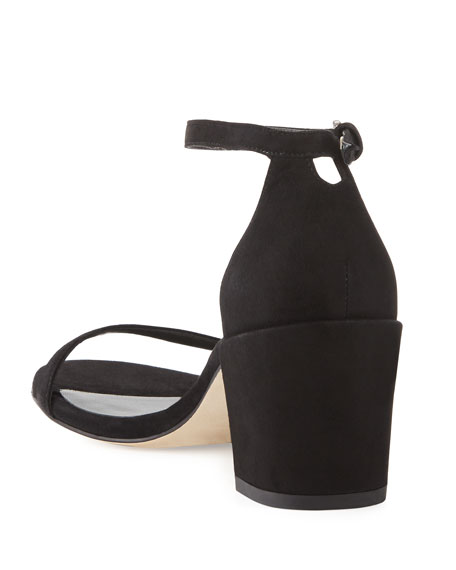 Image 4 of 4: Stuart Weitzman Simple Suede Chunky-Heel City Sandals
