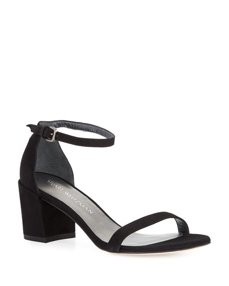 Image 1 of 4: Stuart Weitzman Simple Suede Chunky-Heel City Sandals