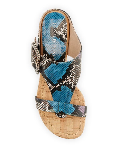 Donald J Pliner Ofelia Python-Print Buckle Wedge Thong Sandals