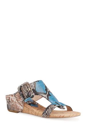 Donald J Pliner Ofelia Python-Print Buckle Wedge Thong Sandals