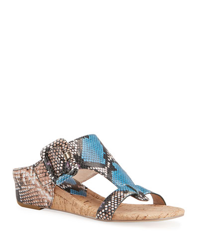 Ofelia Python-Print Buckle Wedge Thong Sandals