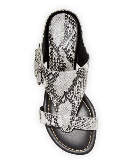 Donald J Pliner Ofelia Pearlized Python-Print Buckle Wedge Thong Sandals