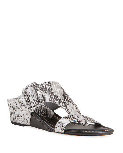 Ofelia Pearlized Python-Print Buckle Wedge Thong Sandals