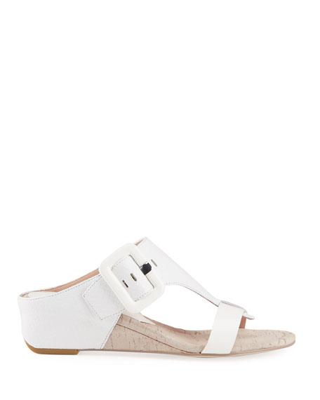 Donald J Pliner Ofelia Snake-Print Buckle Wedge Thong Sandals