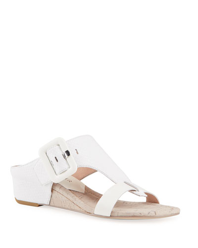 Ofelia Snake-Print Buckle Wedge Thong Sandals
