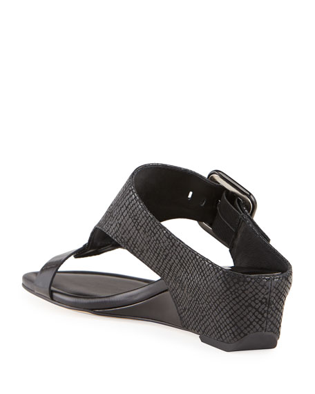 Donald J Pliner Ofelia Pebbled Buckle Wedge Thong Sandals