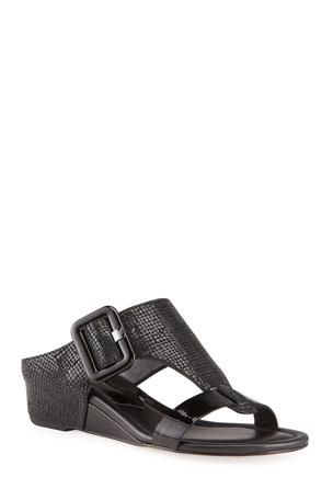 Donald J Pliner Ofelia Pebbled Buckle Wedge Thong Sandals