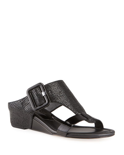 Ofelia Pebbled Buckle Wedge Thong Sandals