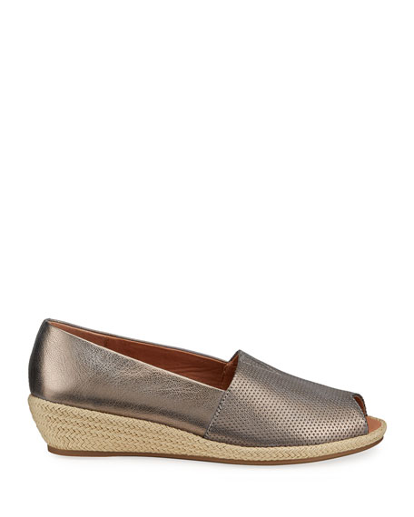 Image 2 of 4: Gentle Souls Lydia Metallic Leather Wedge Espadrilles