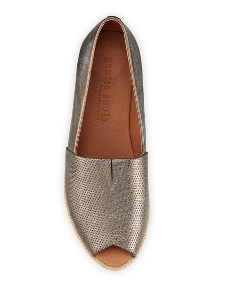 Image 3 of 4: Gentle Souls Lydia Metallic Leather Wedge Espadrilles