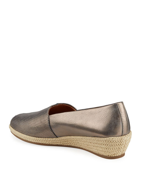 Image 4 of 4: Gentle Souls Lydia Metallic Leather Wedge Espadrilles