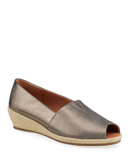 Image 1 of 4: Gentle Souls Lydia Metallic Leather Wedge Espadrilles