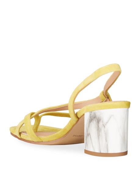 Charles David Clay Suede Block-Heel Thong Sandals