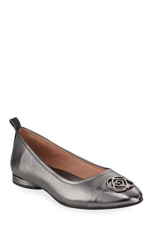 Taryn Rose Phoebe Cap-Toe Ballet Flats